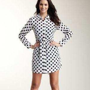 Kensie Polka Dot Print Shirt Dress Black White M